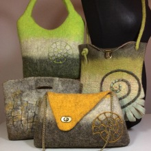 Handmade and unique wet felted bags