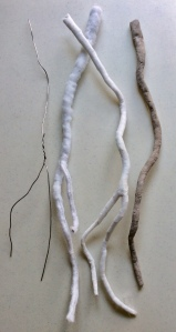 Tree roots made from aluminium wire and Lutradur fabric