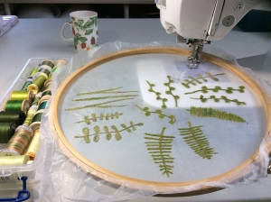 Making weeds using free motion embroidery
