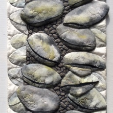 After the Fire - art Quilt inspired by a Banksia Seed Pod which was charred in a bush fire.